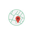 map roads with marker in the circle map pin or vector image vector image