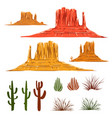 mexican desert landscape cartoon elements vector image vector image