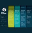 minimalist teal resume cv template vector image vector image