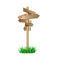 multidirectional wooden road signpost with arrows vector image