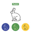 rabbit line icon vector image vector image