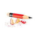 Red pencil with sharpener trash vector image vector image