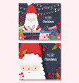 santa claus with gifts and lights merry christmas vector image vector image