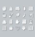 sauna equipment simple paper cut icons set vector image