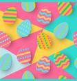 seamless pattern of easter egg paper cut style vector image vector image