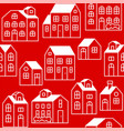 seamless pattern outline house or cottage in vector image vector image