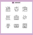 set 9 modern ui icons symbols signs vector image vector image