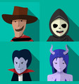 set of people in halloween costume portrait vector image vector image