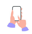 smartphone in hand white screen concept vector image vector image