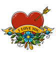 tattoo heart pierced with arrow decorated flowers vector image vector image