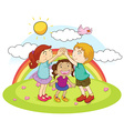 Three kids playing game in the park vector image vector image