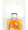 travel agency poster with plastic suitcase vector image vector image