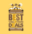 travel banner with suitcase palms and sun vector image vector image