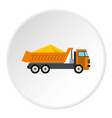 truck with sand icon circle vector image vector image