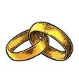 Wedding rings Vintage black engraving vector image vector image