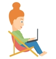 Woman sitting in a folding chair vector image