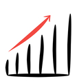 business graph with a red arrow up on white vector image