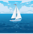 white boat with sail and red flag vector image