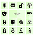 14 privacy icons vector image vector image