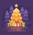 a big bright shinning christmas tree with vector image