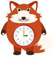a red fox clock vector image