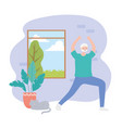 activity seniors old grandfather with cat in room vector image