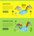 aqua park banner horizontal set isometric view vector image vector image