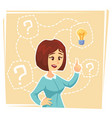 business woman thinking about creative idea vector image