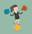 businesswoman balancing on ball vector image vector image