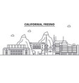 california fresno architecture line skyline vector image vector image