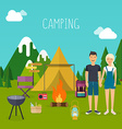Camping and outdoor recreation flat design vector image vector image