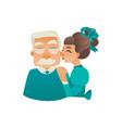 cartoon girl kissing elderly grandfather cheek vector image vector image
