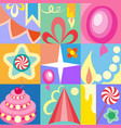 celebratory set of birthday greeting cards kids vector image vector image