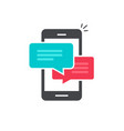 chat in mobile phone icon flat smartphone vector image