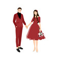 chinese wedding couple in traditional red dress vector image