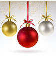 christmas balls and confetti gold sparkles vector image vector image