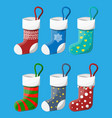 christmas stockings in various colors vector image vector image