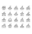 circus tent simple black line icons set vector image vector image