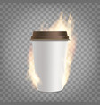 coffee paper cup with fresh is on fire vector image