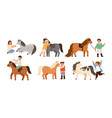 collection of children and ponies set of cute vector image