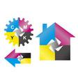 color print sticker design elements vector image
