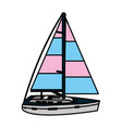 color sailing boat style transport sea vector image