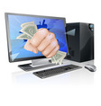 computer with fist full of cash vector image vector image
