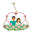 couple lovely heart frame flowers decorative vector image vector image