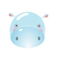 cute hippo face baby animal head vector image vector image