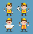 cute male construction worker 4 action set vector image vector image