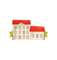 flat icon of large stone house with bright vector image vector image