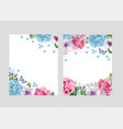 floral blank template set flowers in watercolor vector image