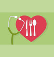 fork spoon and knife with heart shape and a vector image vector image