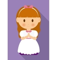 girl kid cartoon white dress icon graphic vector image vector image